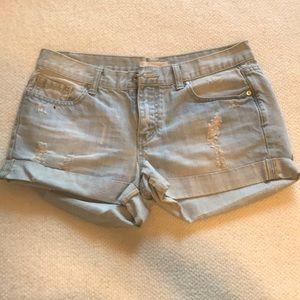 Lightly distressed jean shorts